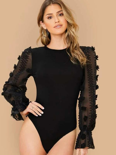 3D Appliques Sheer Bell Sleeve Form Fitted Bodysuit