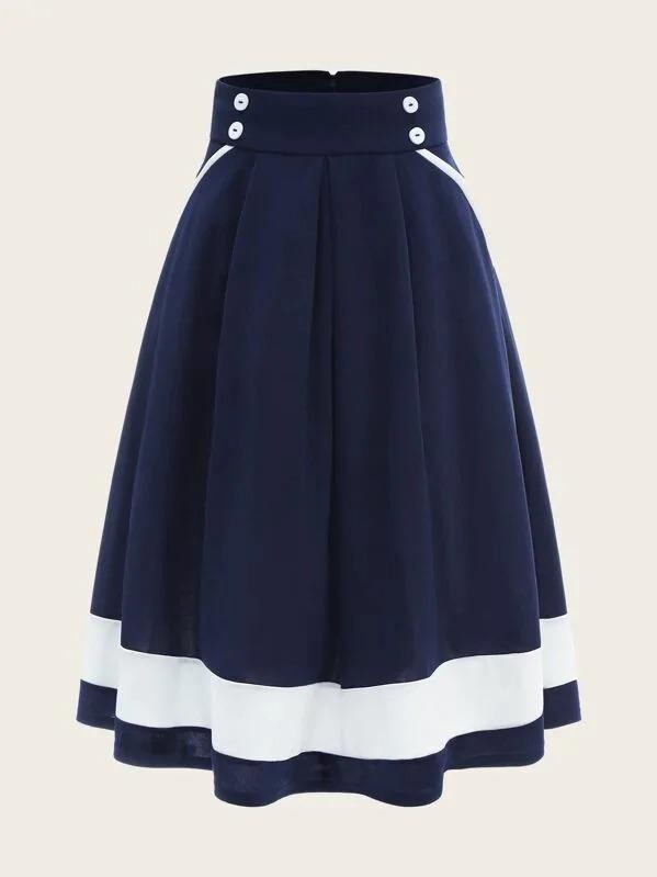 50s Double Breasted Contrast Hem Box Pleated Skirt