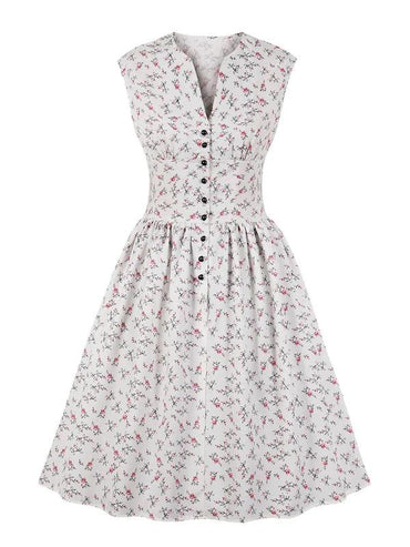 50s Button Front Floral Print Dress