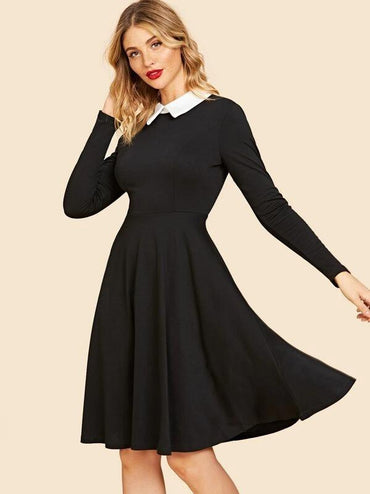 50s Contrast Collar Fit & Flare Dress
