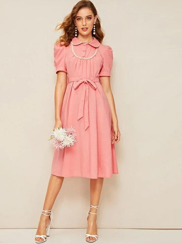 50s Puff Sleeve Lace Trim Belted Dress