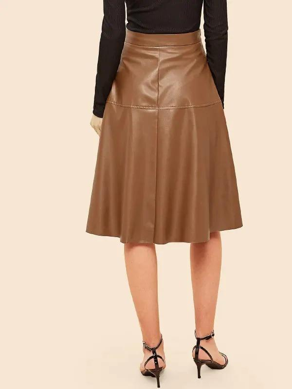 70s Zip Detail PU Skirt