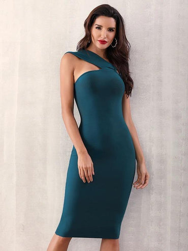 Adyce Asymmetrical Neck Midi Bandage Dress