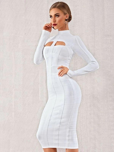 Adyce Cut-Out Front Mock-Neck Bandage Dress