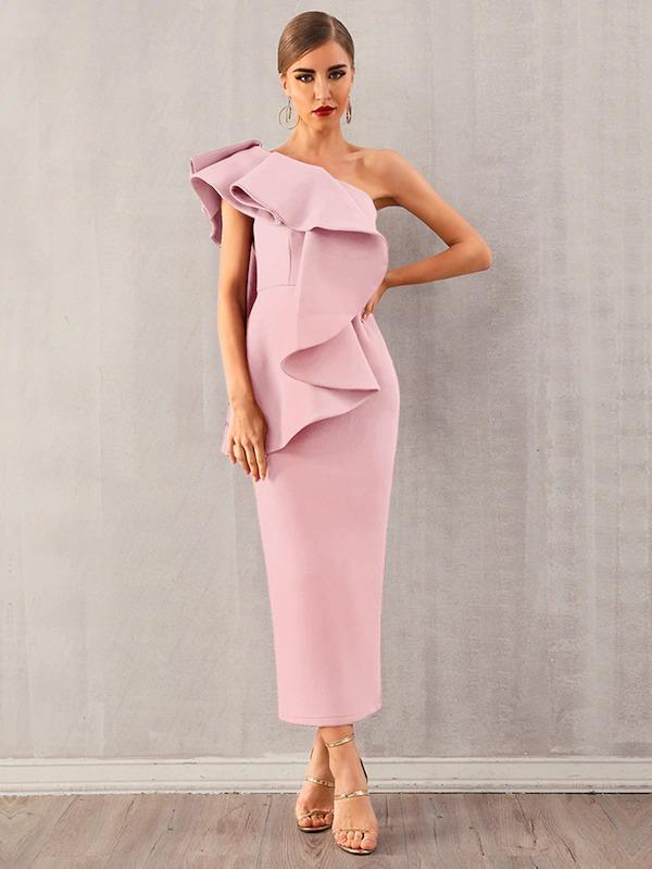 Adyce Exaggerated Ruffle One Shoulder Pencil Dress