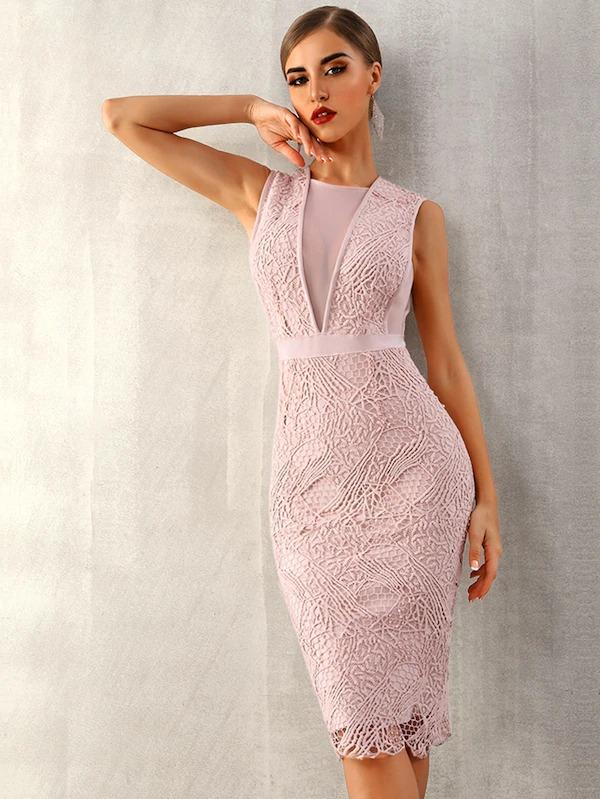 Adyce Mesh Insert Guipure Lace Overlay Bodycon Dress