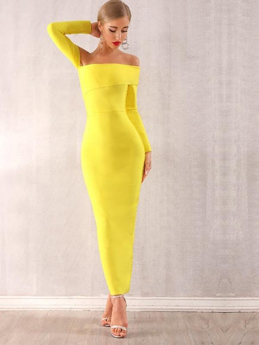 Adyce Neon Yellow Off Shoulder Bodycon Dress