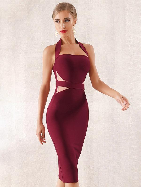 Adyce Zip Back Cut-Out Halterneck Bodycon Dress
