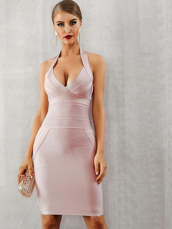 Adyce Zip Back Halterneck Backless Bandage Dress