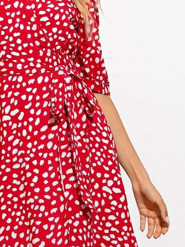 Women All Over Print Puff Sleeve Belted Wrap Dress
