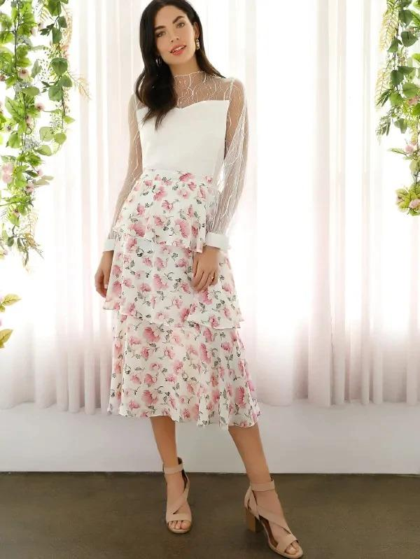 Allover Floral Print Tiered Layered Skirt