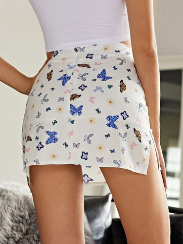 Women Allover Butterfly Print Slit Hem Skirt