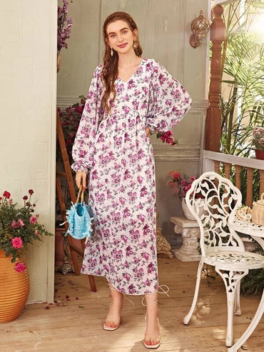 Women Allover Floral Bishop Sleeve Smock Dress