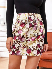 Women Allover Floral Mini Bodycon Skirt