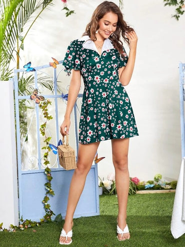 Women Allover Floral Print Lapel Neck Butterfly Sleeve Dress