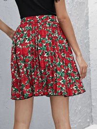 Women Allover Floral Print Pleated Skirt
