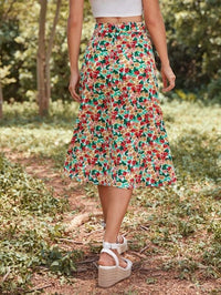 Women Allover Floral Print Slit Hem Skirt