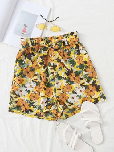 Women Allover Floral Self Tie Shorts