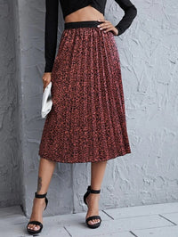 Women Allover Print High Waist Pleated Skirt
