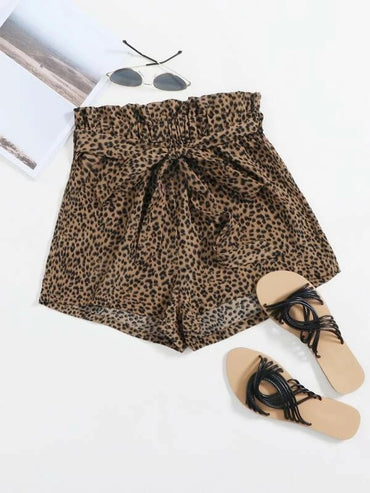 Women Allover Print Paperbag Waist Self Belted Shorts