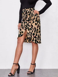 Women Allover Print Wrap Tie Side Skirt