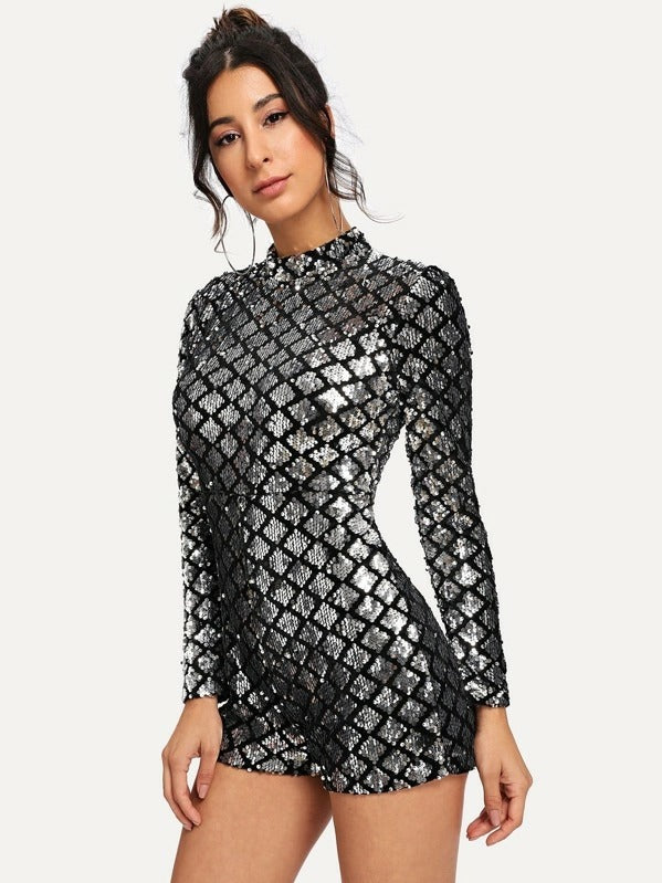 Allover Sequin Zip Back Jumpsuit