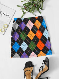 Women Argyle Print Skirt