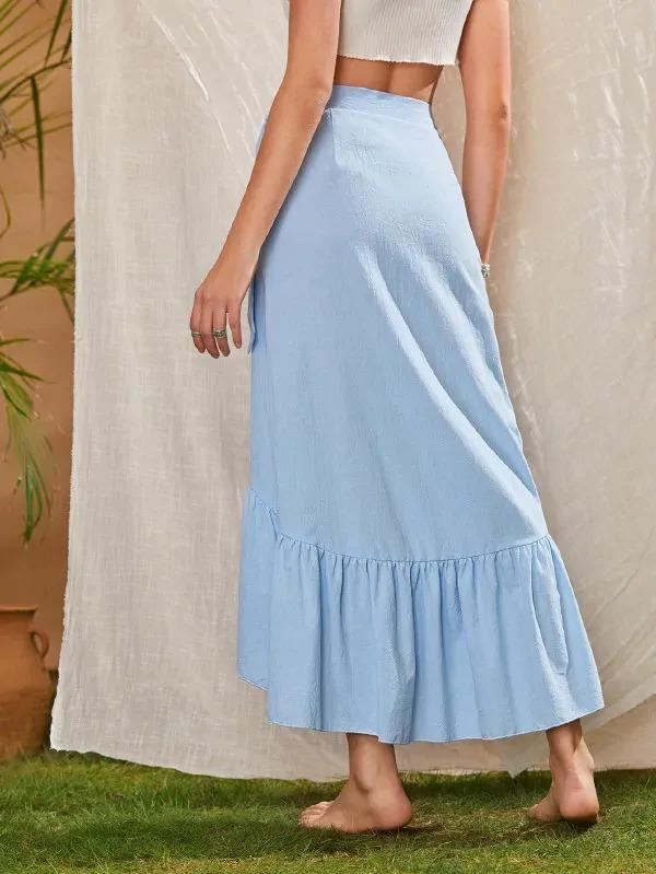 Asymmetric Ruffle Hem Wrap Skirt