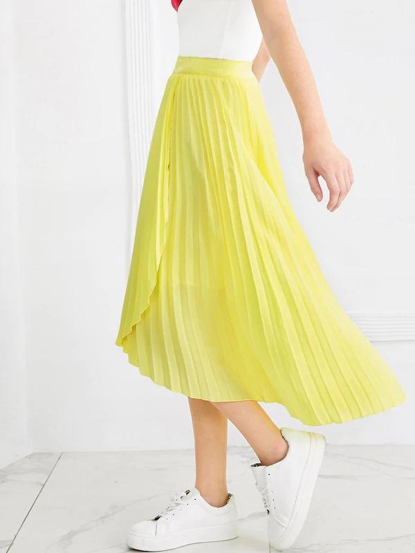 Asymmetrical Hem Pleated Skirt