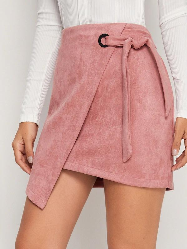 Asymmetrical Hem Wrap Knotted Suede Skirt
