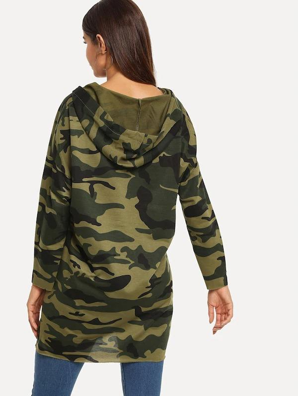 Asymmetrical Hem Hooded Camo Sweatshirt