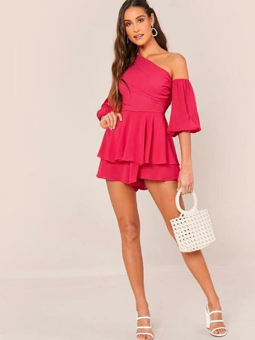 Asymmetrical Neck Balloon Sleeve Layered Hem Romper