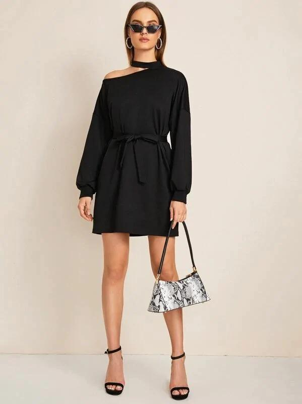 Asymmetrical Neck Drop Shoulder Belted Sweatshirt Dress