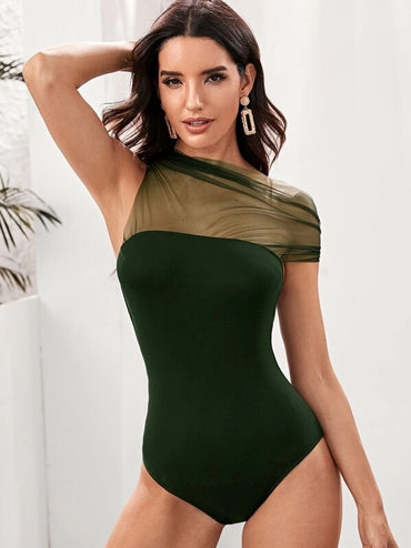Asymmetrical Neck Mesh Yoke Bodysuit