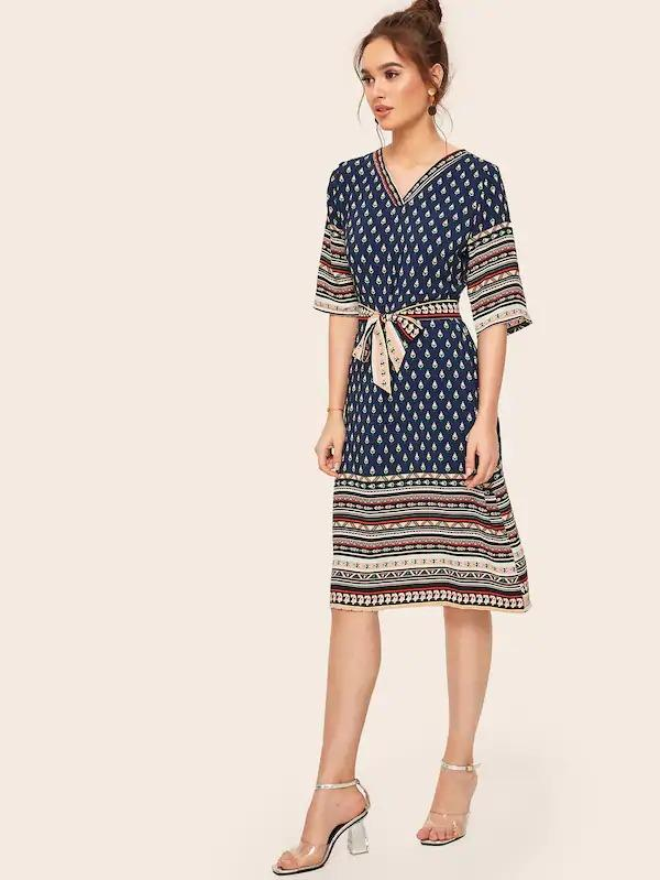 Aztec Print V-Neck Self Tie Dress