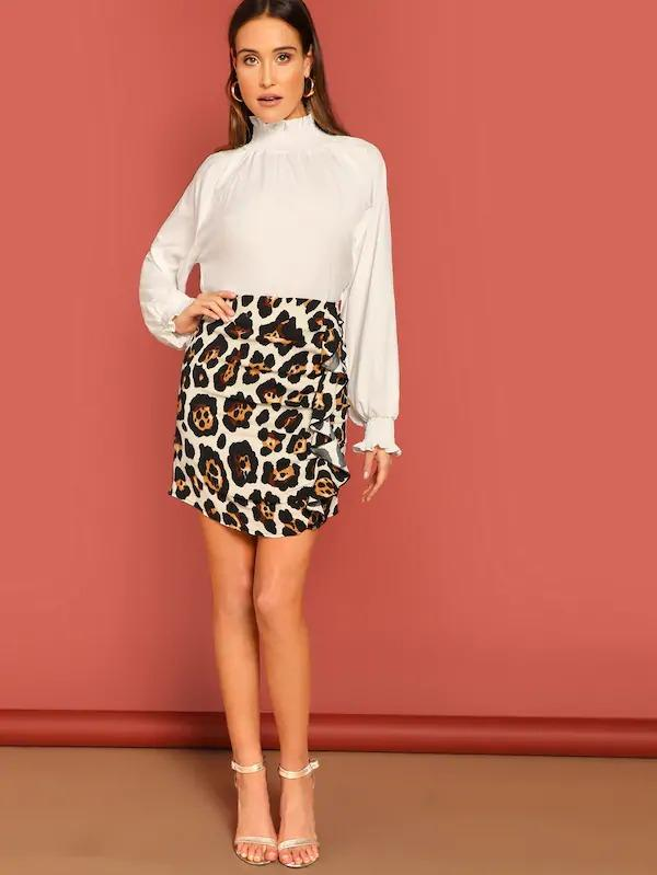 Back Zip Leopard Print Side Ruffle Skirt