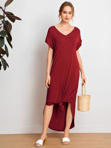 Women Batwing Sleeve Curved Hem Dress