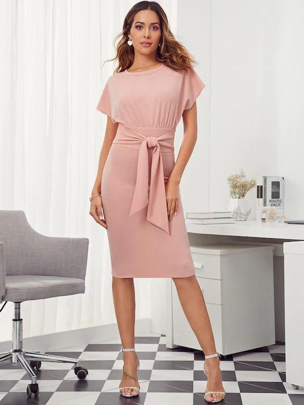 Batwing Sleeve Tie Waist Pencil Dress