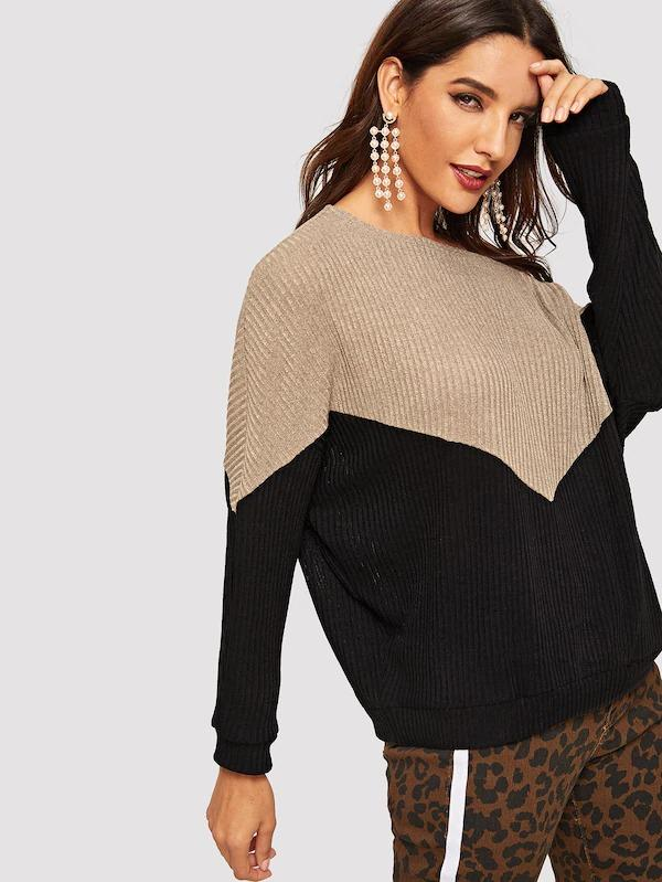 Batwing Sleeve Two-Tone Ribbed Pullover