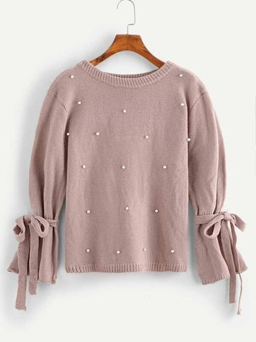 Beaded Knot Detail Sweater