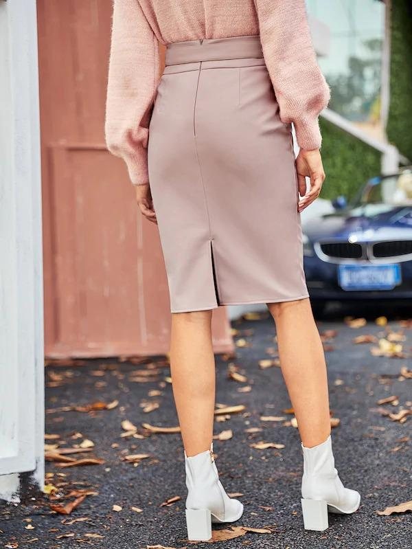 Belted Split Back PU Bodycon Skirt