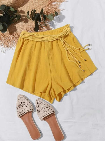 Women Belted Knot Crinkle Shorts