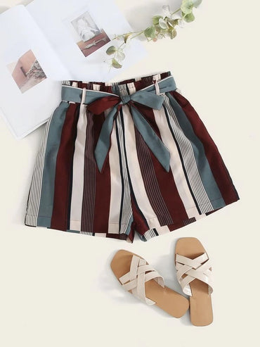 Women Belted Striped Shorts