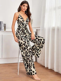 Belted Wide Leg All Over Print Cami Jumpsuit