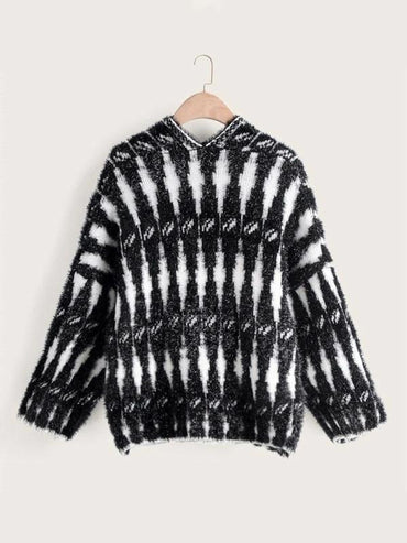 Black And White Open Front Fuzzy Cardigan