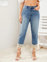 Women Bleach Wash Embroidery Fringe Hem Jeans