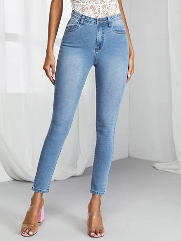 Women Bleached Wash Skinny Jeans