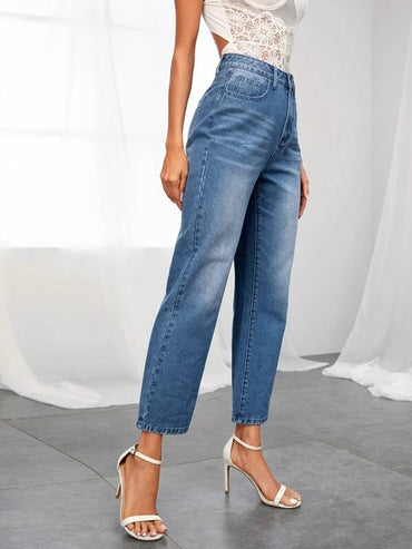 Women Bleached Wash Slant Pocket Jeans