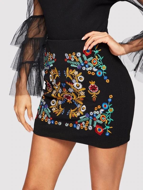 Botanical Embroidered Textured Skirt