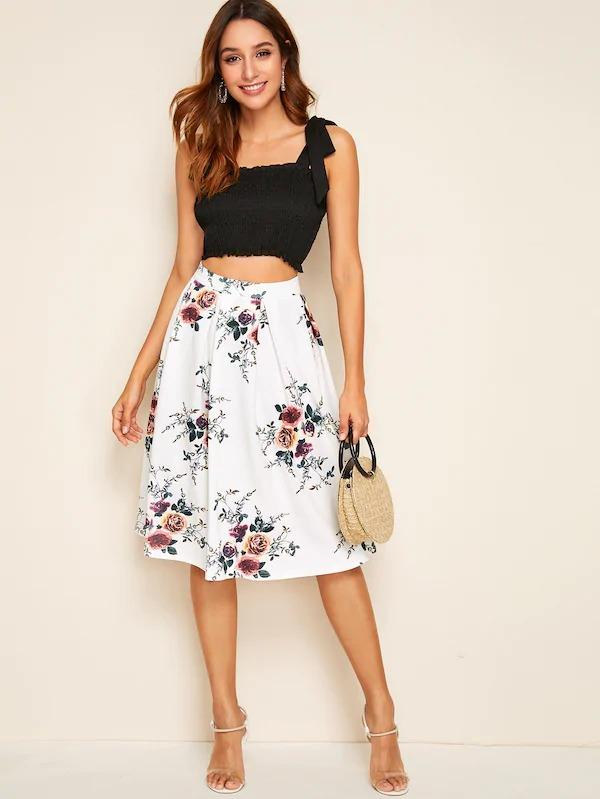 Botanical Print High Waist Pleated Skirt